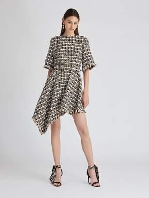 Oscar de la Renta Asymmetric Houndstooth Tweed Dress
