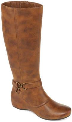 Yuu Womens Tasha Dress Wedge Heel Zip Boots