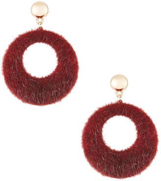 Berry Jewelry Faux-Fur Hoop Drop Earrings