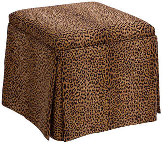 One Kings Lane Anne Skirted Storage Ottoman - Cheetah