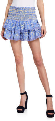 LoveShackFancy Mira Smocked Mini Ruffle Skirt
