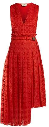 Fendi Belted Floral Embroidered Silk Dress - Womens - Orange