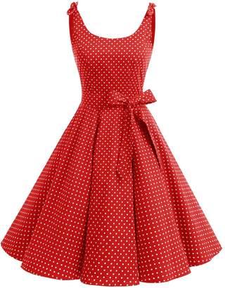 Bbonlinedress Women's 1950's Vintage Retro Bowknot Polka Dot Rockabilly Swing Dress L
