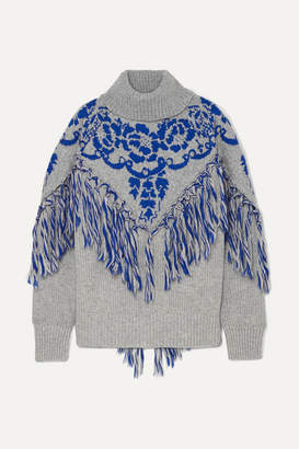Sacai (サカイ) - Sacai - Tasseled Cape-effect Wool-blend Jacquard Turtleneck Sweater - Gray