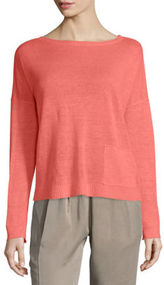 Eileen Fisher Classic Long-Sleeve Lightweight Box Top $158 thestylecure.com