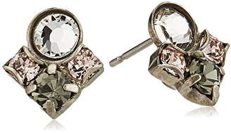Sorrelli Womens Snow Bunny Petite Crystal Cluster Post Stud Earrings