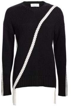 Derek Lam 10 Crosby Ribbed Wool Braided Trim Sweater