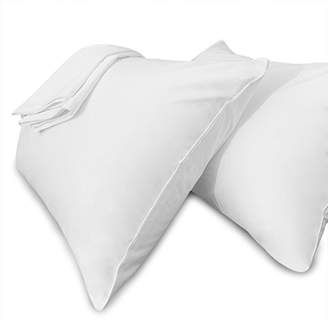 White Pillow Cases Standard Size Hidden Zippered 100% Cotton Hypoallergenic Bed Bug & Dust Mite Resistant Pillow Covers for Easy Care