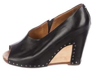 Maison Margiela Leather Peep-Toe Wedges