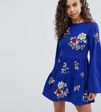 Asos Embroidered Tiered Smock Dress With Long Sleeves