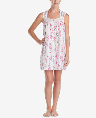 Eileen West Lace-Trim Woven Cotton Nightgown