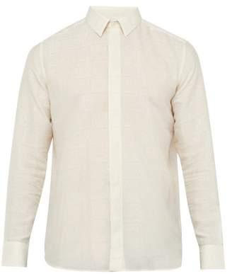 Saint Laurent Jacquard Motif Crepe Shirt - Mens - Cream