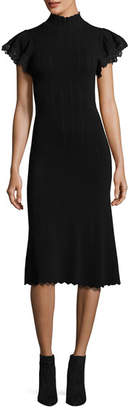 Rebecca Taylor Short-Sleeve Pointelle Fitted Midi Dress