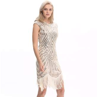 Co Pilot-trade clothing trade Pilot-trade Women's Vintage 1920s gatsby Look Flapper Swing Fringe Cocktail Party Dress XXL