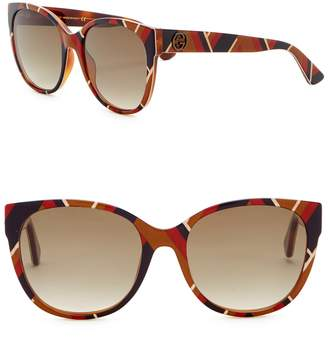 Gucci 56mm Rounded Cat Eye Sunglasses