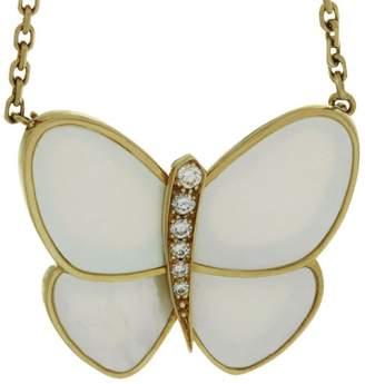 Van Cleef & Arpels 18K Yellow Gold Diamond Butterfly Pendant Necklace