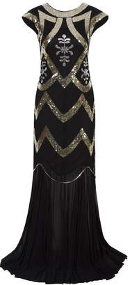 Vijiv Women's 1920s Beaded Flapper Dress Sequin Maxi Formal Wedding Evening Gown