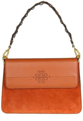 Tory Burch mcgraw Mixed-materials Shoulder Bag In Leather And Suede