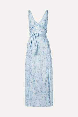 LoveShackFancy Kendall Floral-print Silk-satin Maxi Dress - Blue