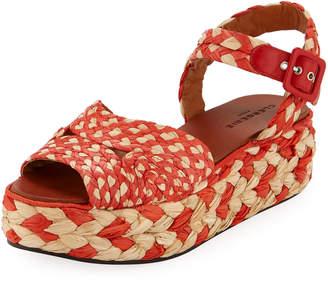 Robert Clergerie Artemis Raffia Platform Sandals