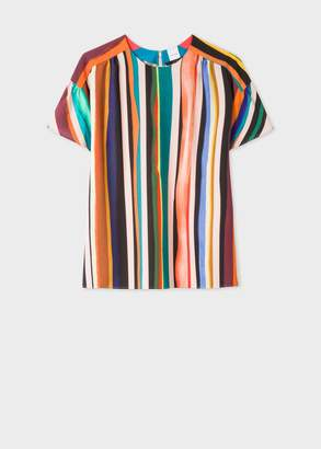 Paul Smith Women's 'Expressive Stripe' Print Flute Sleeve Top