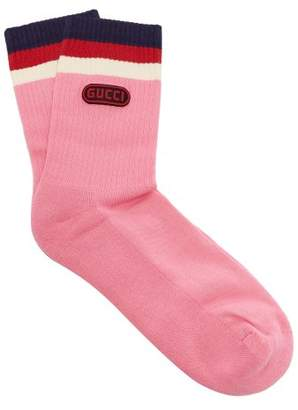 Gucci Logo Embellished Striped Socks - Mens - Pink