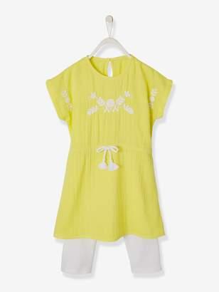 Vertbaudet Embroidered Dress + Leggings Outfit for Girls