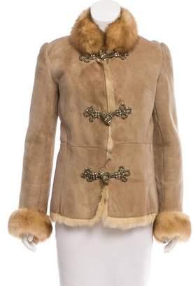 Blumarine Embellished Shearling Jacket