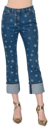 Valentino Star-Print Deep-Cuff Cropped Jeans, Light Blue Denim $1,200 thestylecure.com