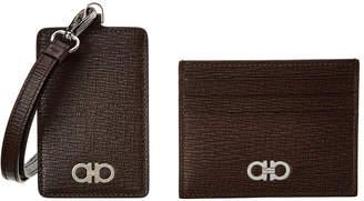 4a98cdaa8f4 Salvatore Ferragamo Leather Card Case   Lanyard Set