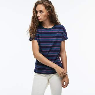 Lacoste Women's Crew Neck Colorblock Striped Cotton Jersey T-shirt