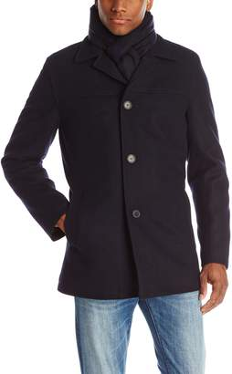 Tommy Hilfiger Mens Outerwear Wool Melton Walking Coat with Detachable Scarf