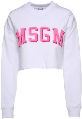 MSGM Logo-embroidery Cotton Cropped Sweatshirt