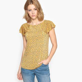 Anne Weyburn Printed Draping Boat Neck T-Shirt