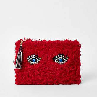 River Island Red fleece embellished eye clutch bag