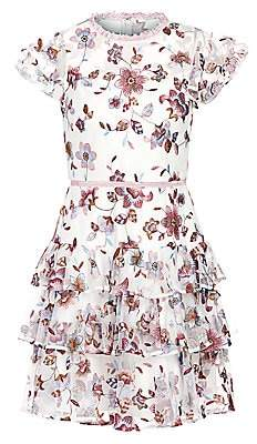 ML Monique Lhuillier Women's Floral-Embroidery Tiered Cocktail Dress