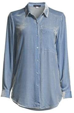 Eileen Fisher Women's Velvet Button-Down Shirt - Haze - Size XXS