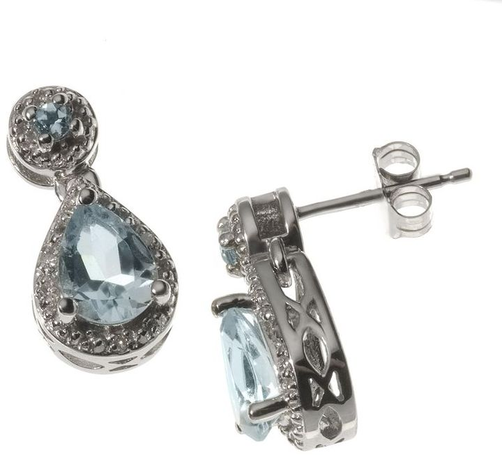 10k White Gold Aquamarine & Diamond Accent Drop Earrings