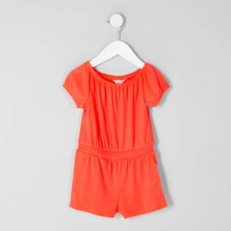River Island Mini girls coral bardot romper