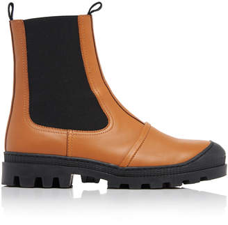 Loewe Rubber-Paneled Leather Chelsea Boots