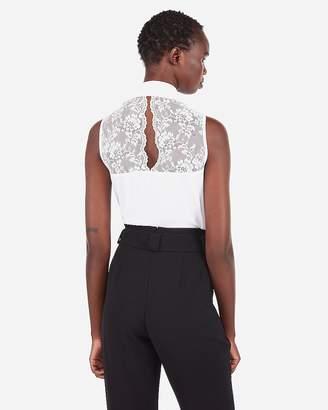 Express Slim Fit Lace Back Sleeveless Portofino Shirt