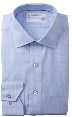 Lorenzo Uomo Textured Check Trim Fit Dress Shirt