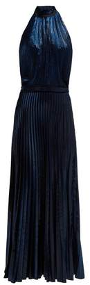 Raquel Diniz - Giovanna Halterneck Pleated Velvet Gown - Womens - Dark Blue