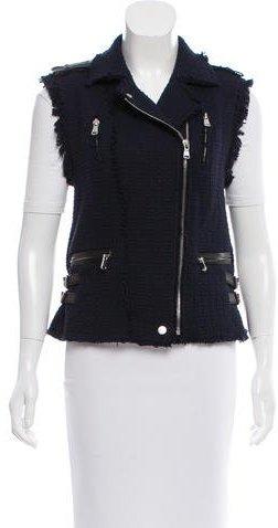 Rebecca TaylorRebecca Taylor Leather-Trimmed Tweed Vest