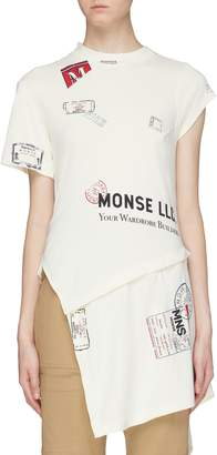 Monse Detachable hem logo slogan print patchwork asymmetric T-shirt