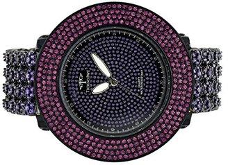 4行エレガントなパープルメタルラボダイヤモンドバンドClassy Techno pave Watch