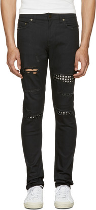 Saint Laurent Black Studded Low Waisted Skinny Jeans $1,490 thestylecure.com