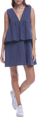 ENGLISH FACTORY Pinstriped Ruffle-Tiered Bow-Back Dress