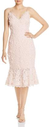 Aidan Mattox Embroidered Lace Midi Dress