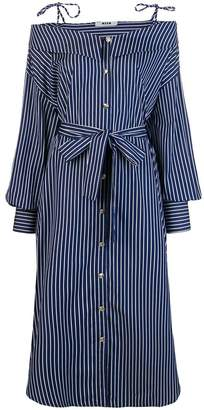 MSGM striped off shoulder shirt dress